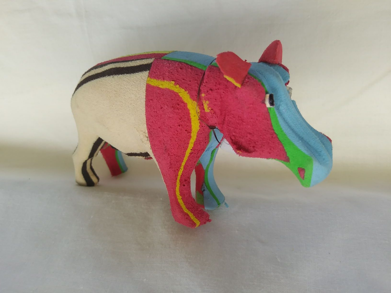 3 Hand made recycled flip flop african rhino