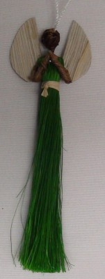 Decorative Hanging Fiber Angel in Green