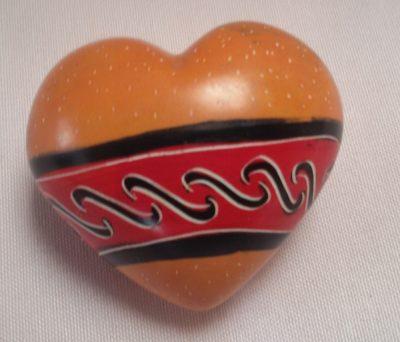 Orange painted soapstone heart