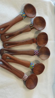 Beaded teak teaspoons
