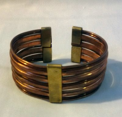 Brass and Copper Wide Bracelet