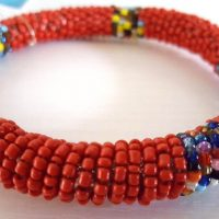 Round Beaded Red Bracelet