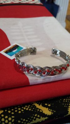Silver Braided and Red Bead Bracelet