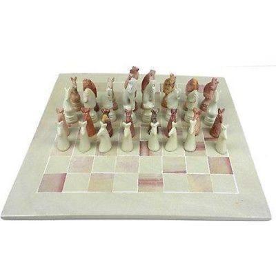 Soapstone Animal Chess Set