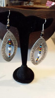 Aluminum and Glass Bead Earrings