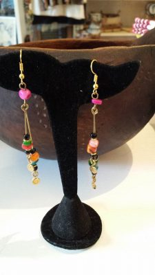 Brass and Stone Earrings