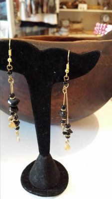 Brass and Black Stone Earrings