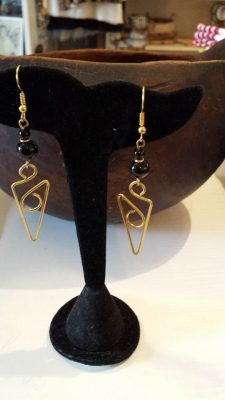 Brass Wire Black Stone Earrings