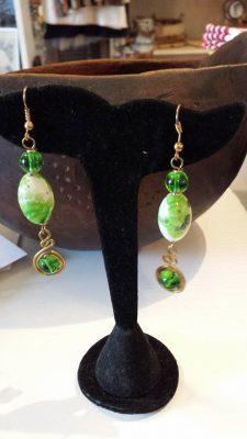 Brass Green Glass Bead Earrings