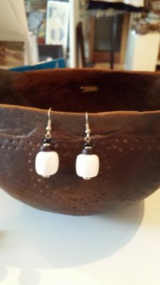 White Glass Earrings