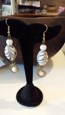 Brass White Swirl Earrings