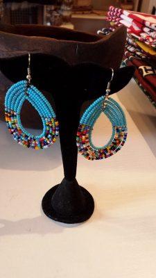 Blue Beaded Maasai Earrings