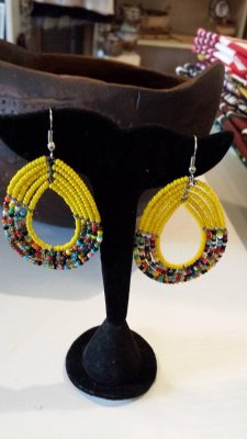 Yellow Beaded Maasai Earrings