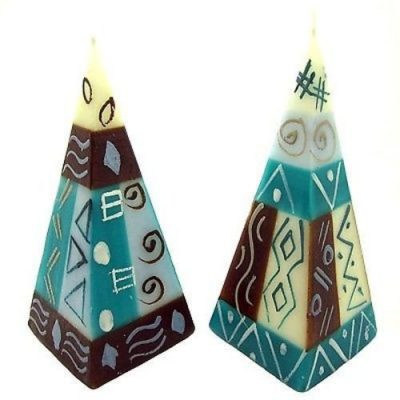 Handpainted Pyramid Candle Set Maji Design