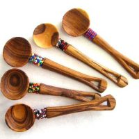 Beaded Teak Sugar Spoon