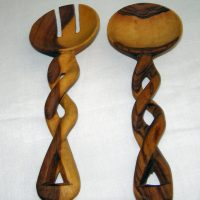 Wooden Twisted Salad Servers