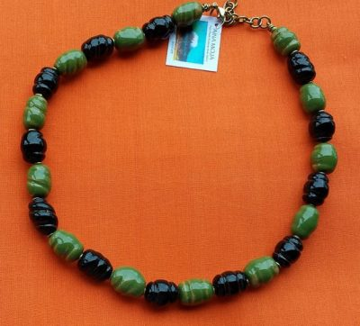 Green and Black Clay Bead Necklace