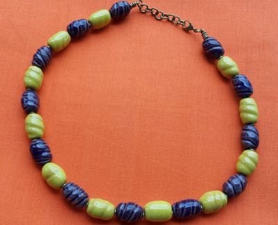 Purple Yellow Clay Bead Necklace